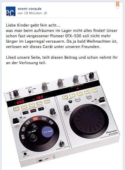 Facebook-Verlosung: Pioneer EFX-500 zu gewinnen!